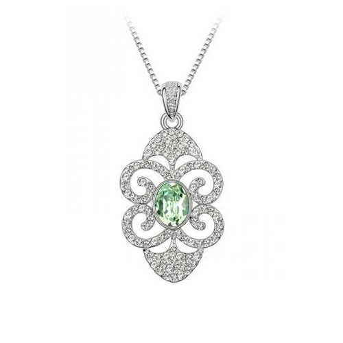 18K Gold Plated Green Crystal Flower Necklace, Elegant and Luxurious Design