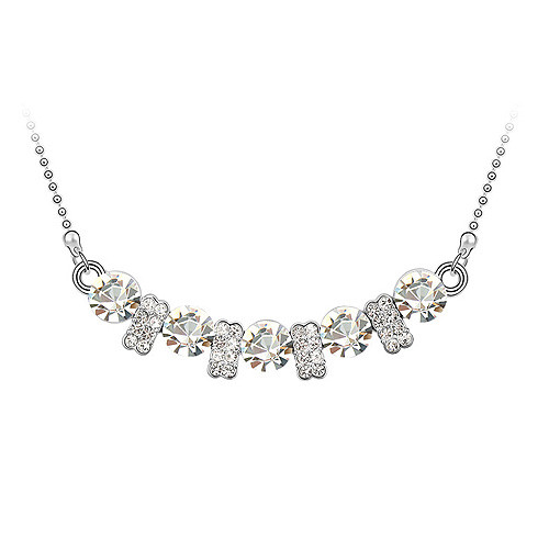 18K Gold Plated 5 Crystal Elegant Necklace, Luxurious Design