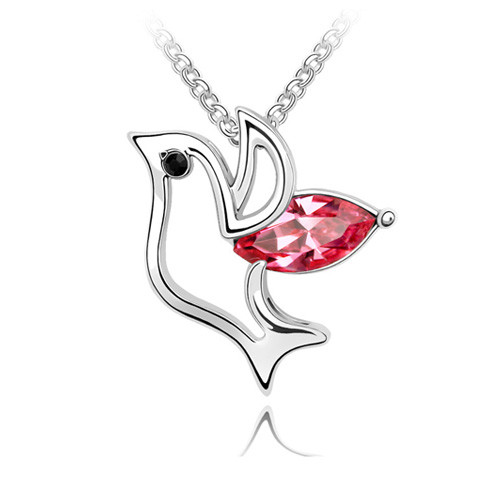 18K Gold Plated Bird Pendant Necklace, Red Crystal, Free Chain