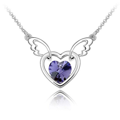 18K Gold Plated Genuine Heart with Wings Amethyst Pendant Necklace