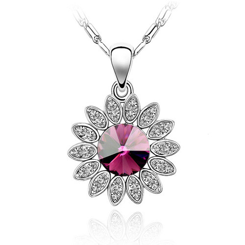 18K Gold Plated Round Flower Fuchsia Pendant Necklace, Free Chain