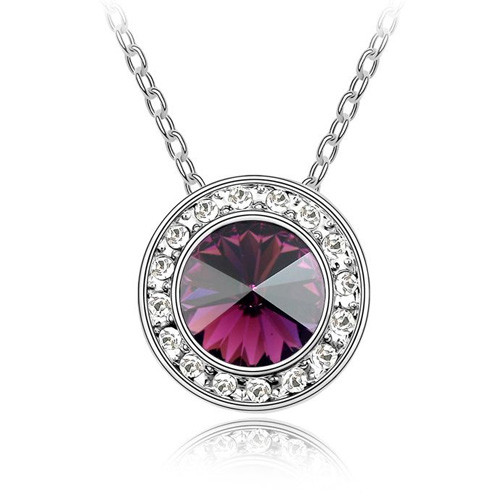 18K Gold Plated Genuine Round Fuchsia Pendant Necklace,  Free Chain