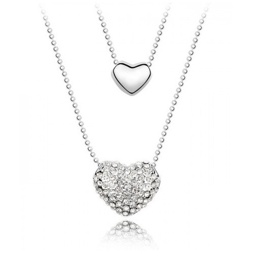 18K Gold Plated Genuine 2 Heart Pendant Necklace, Cubic Zirconia