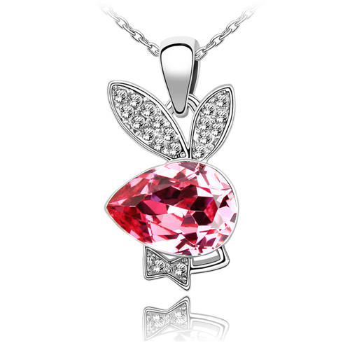18K Gold Plated Genuine Playboy Bunny Rose Crystal Pendant Necklace