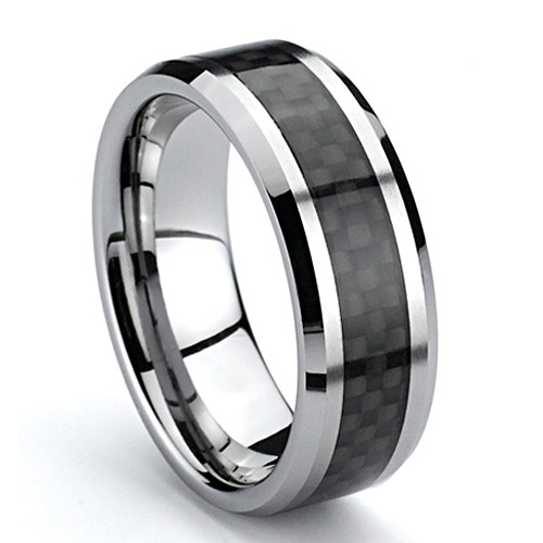 Tungsten Ring, Wedding Band, High Polish, Bevel Edge with Black Carbon Fiber Inlaid, 8MM