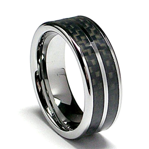 Tungsten Ring, Wedding Band, High Polish, Flat Top with DOUBLE Black Carbon Fiber Inlaid, 8MM