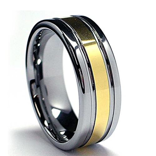 Tungsten Ring, Wedding Band, Middle Line with Gold Plated, Flat Top, 8MM