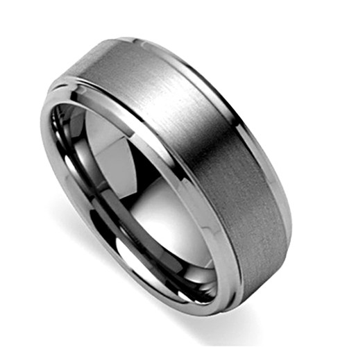 Tungsten Ring,  Wedding Band, Flat Top, Brush Finish, Titanium Color, 8MM