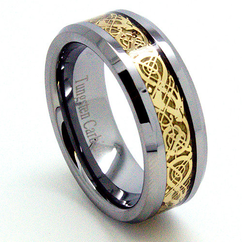 Tungsten Ring, Wedding Band, Polished with Gold Plated Celtic Dragon Design, 8MM