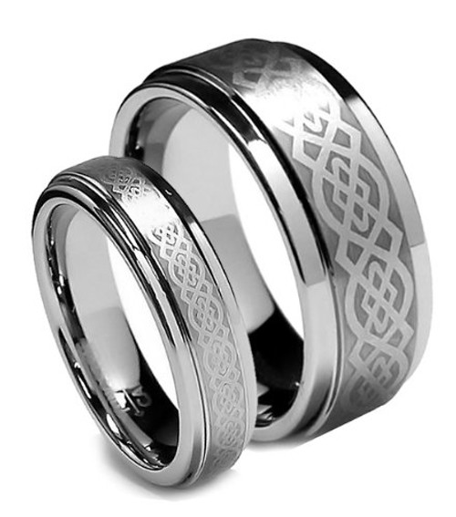 Matching Tungsten Wedding Band Sets, Celtic Design, Flat Top, Step Edge