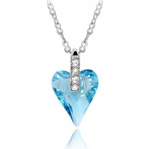 18K Gold Plated Aqua Blue Austrian Crystal Heart Shape Pendant Necklace