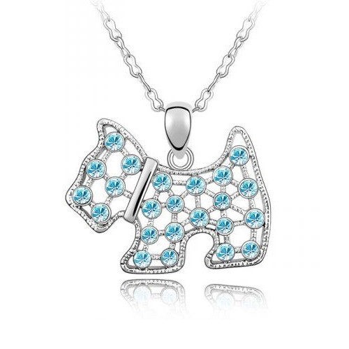 18K Gold Plated Aqua Blue Austrian Crystal Puppy Pendant Necklace