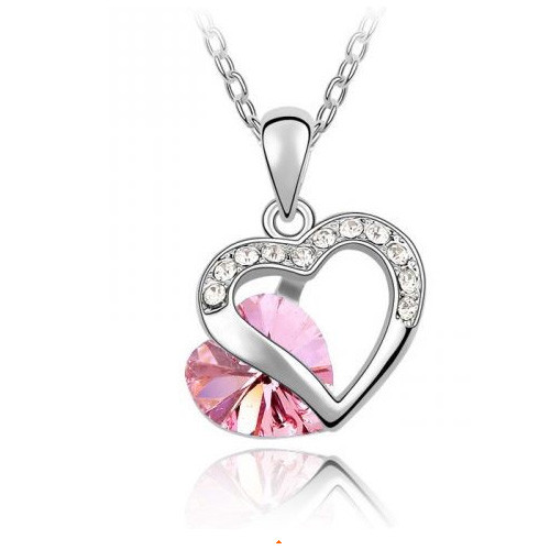 18K Gold Plated Light Rose Austrian Crystal Heart Pendant Necklace