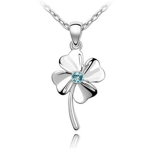 18K Gold Plated Aqua Blue Austrian Crystal Clover Pendant Necklace