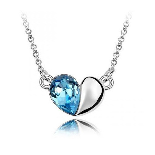 18K Gold Plated Aqua Blue Austrian Crystal Heart Pendant Necklace