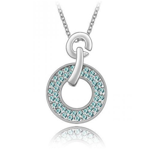 18K Gold Plated Aqua Blue Austrian Crystal Round Pendant Necklace