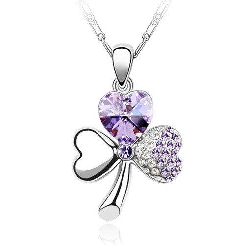 18K Gold Plated Amethyst Austrian Crystal Flower Pendant Necklace