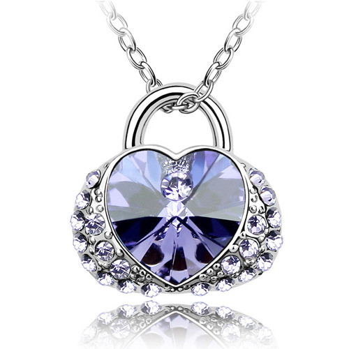 18K Gold Plated Amethyst Austrian Crystal Women Bag Pendant Necklace