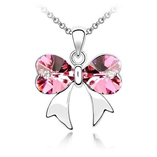 18K Gold Plated Pink Austrian Crystal Heart Bow Necklace