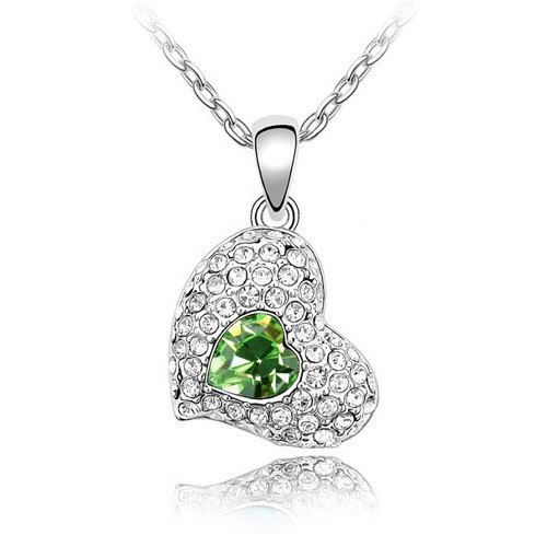 18K Gold Plated Green Austrian Crystal Heart Necklace, Free Chain