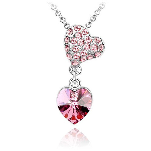 Copy of 18K Gold Plated Pink Austrian Crystal  2 Heart  Pendant Necklace
