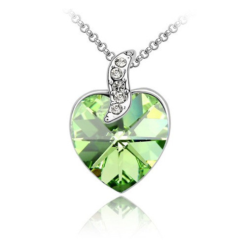18K Gold Plated Green Austrian Crystal Heart  Necklace