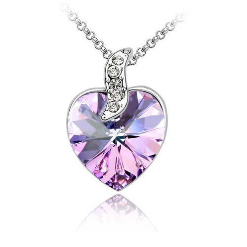 18K Gold Plated Amethyst Austrian Crystal Heart  Pendant Necklace