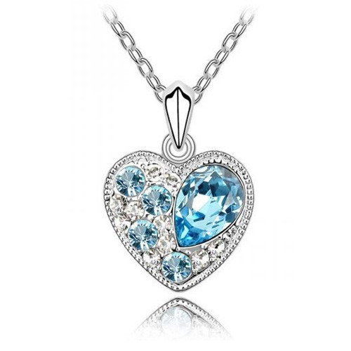 18K Gold Plated Aqua Blue Austrian Crystal Heart Necklace