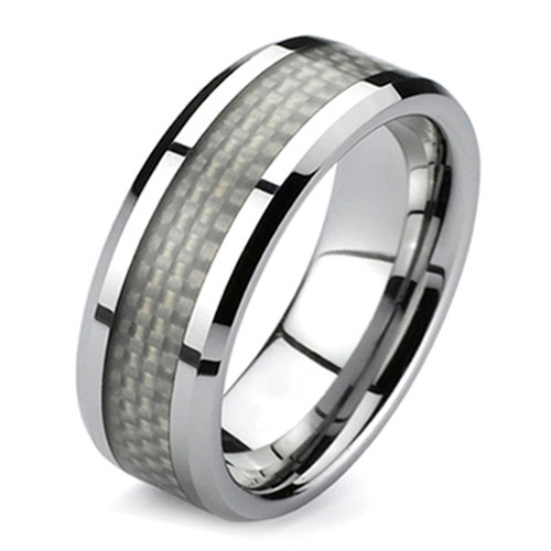 Titanium Ring, Wedding Band, with White Carbon Fiber Inlaid, 8MM