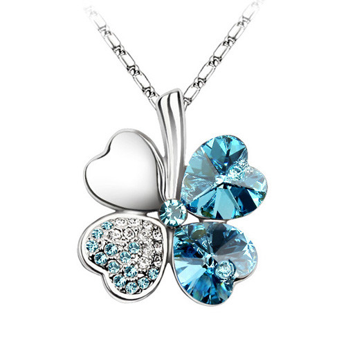 18K Gold Plated Aqua Blue Crystal 4 Heart Leaf Clover Pendant Necklace