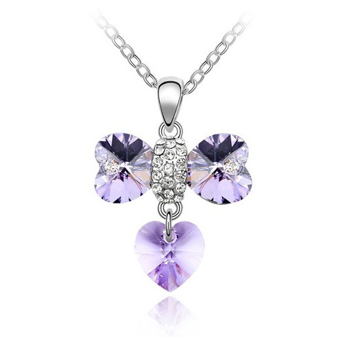 18K Gold Plated Light Purple crystal Heart Bow Pendant Necklace