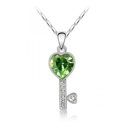 "18K Gold Plated Green Heart Crystal Key Pendant Necklace, Free 18"" Chain"