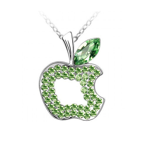 "18K Gold Plated Green Crystal Apple Pendant Necklace, Free 18"" Chain"