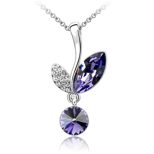 "18K Gold Plated Amethyst Crystal Leaf Pendant Necklace, Free 18"" Chain"