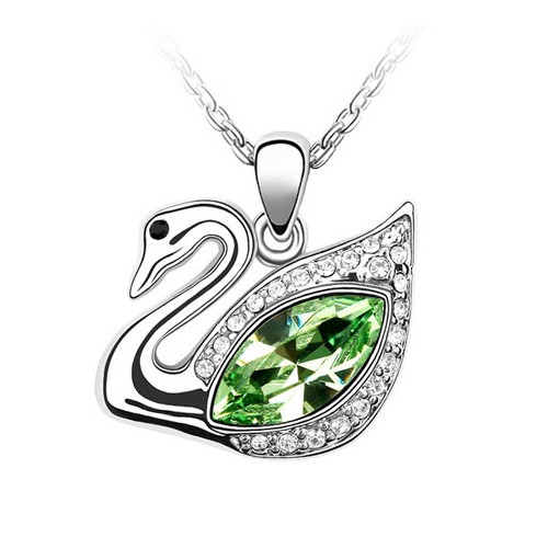"18K Gold Plated Green Crystal Swan Pendant Necklace, Free 18"" Chain"