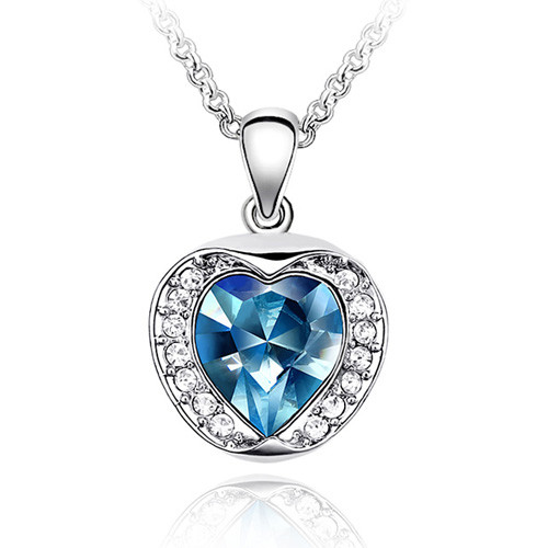 "18K Gold Plated Aqua Blue Crystal Heart Apple Pendant Necklace, Free 18"" Chain"