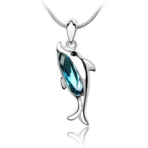 """18K Gold Plated Aqua Blue Crystal Dolphin Pendant Necklace, Free 18"""" Chain"""