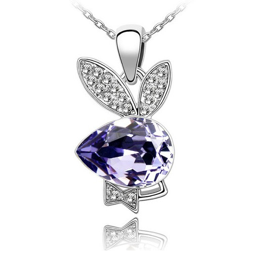 18K Gold Plated Amethyst Crystal Playboy Bunny Rabbit Pendant Necklace