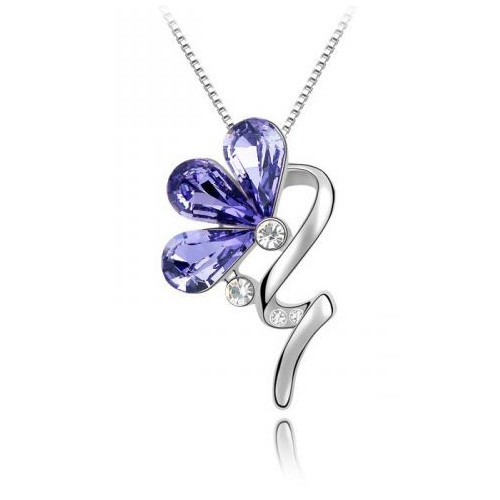 18K Gold Plated Amethyst Austrian Crystal Rain Flower Pendant Necklace
