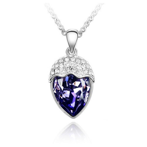 "18K Gold Plated Amethyst Crystal Heart Pendant Necklace, Free 18"" Chain"