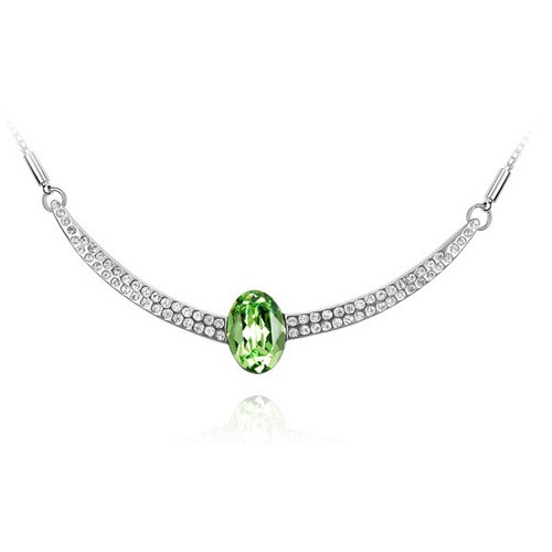 "18K Gold Plated Green Oval Arch Crystal Pendant Necklace, Free 18"" Chain"