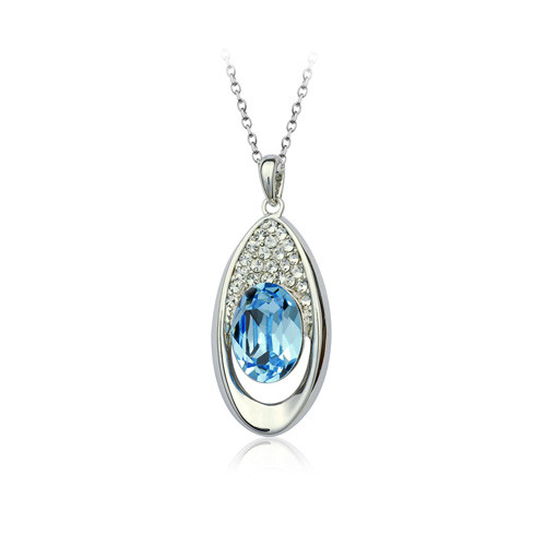 18K Gold Plated Aqua Blue Eye Shape Crystal Heart Pendant Necklace
