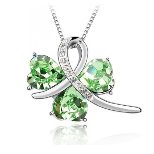 18K Gold Plated Green Crystal Heart Pendant Necklace