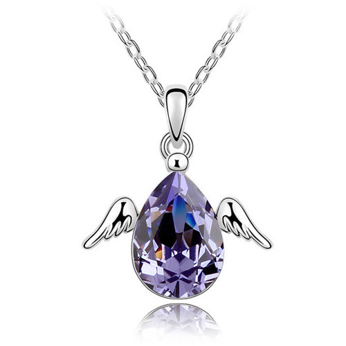 Amethyst Crystal Tear Drop with Wings Pendant, Fashionable Women Necklace