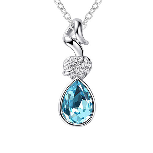 18K Gold Plated Blue Crystal Teardrop Pendant, Fashionable Women Necklace