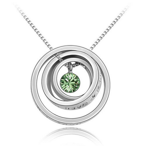Peridot Green Crystal, 18K Gold Plated, Triple Rings Women Necklace