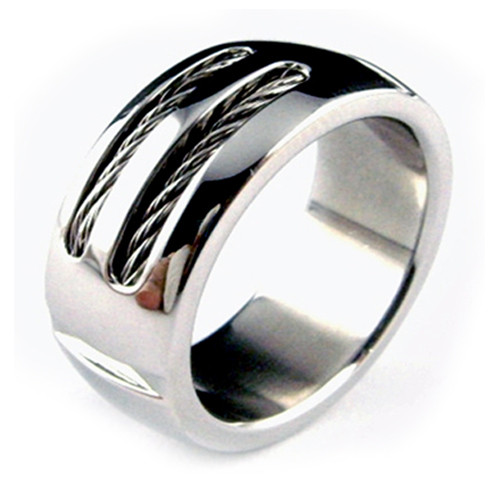 Titanium Ring with Double Wires,  Wedding Band, High Polish Finish, 8MM