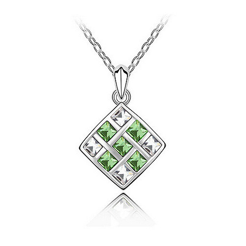 Square Checker Pendant Necklace with Light Green Crystals, Cubic Zirconia