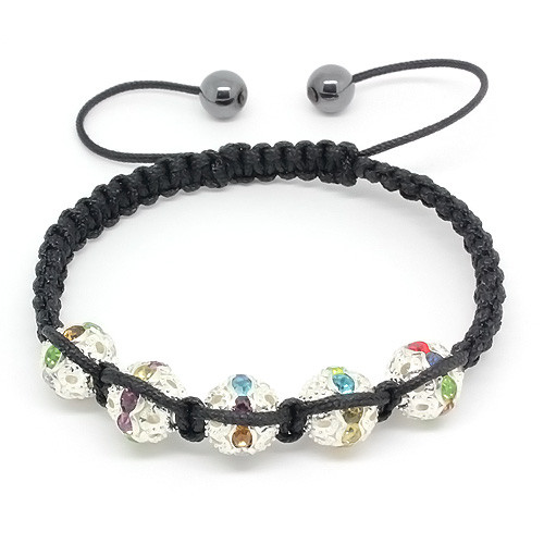 Hematite Bead and Mluti Color Crystal Adorned Silver Tone Bead Bracelet