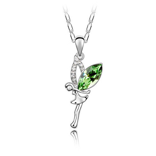 Fairy Pendant Necklace with Green Crystal, 18K Gold Plated